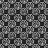 Bezszwowy abstrakcjonistyczny wektoru wzór z białymi drzewami Zdjęcia Royalty Free