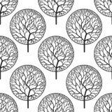 Bezszwowy abstrakcjonistyczny wektoru wzór z czarnymi drzewami Obraz Royalty Free
