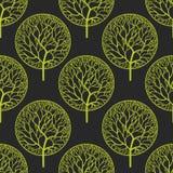 Bezszwowy abstrakcjonistyczny wektoru wzór z drzewami Obraz Stock