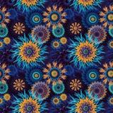 Bezszwowy abstraktów kwiatów i gwiazd wzoru tło ilustracja wektor