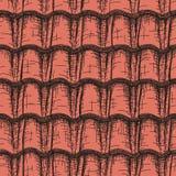 Bezszwowy abstrakt rysująca czerwona dachowa płytka Zdjęcie Stock