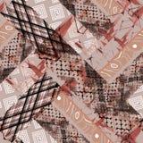 Bezszwowy abstrakta wzór Afrykański projekt tło z akwarela skutkiem, patchwork ilustracji