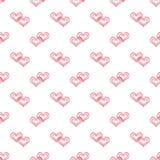 Bezszwowy abstrakta wzór z czerwieni koronki sercami, biały tło, Zdjęcie Stock