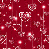 Bezszwowy abstrakta wzór z delikatnymi openwork sercami, czerwony tło, Fotografia Stock