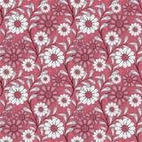 Bezszwowy abstrakta wzór z kwiatu ornamentem na czerwonym tle Zdjęcia Royalty Free