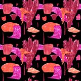 Bezszwowy abstrakta wzór z pomarańcze i różowymi geometrycznymi kształtami royalty ilustracja