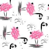 Bezszwowy abstrakta wzór z różowym flamingiem ilustracja wektor