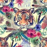 Bezszwowy akwarela chodak z tygrysem przewodzi, liście, kwiat, piórka royalty ilustracja