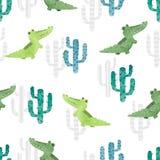 Bezszwowy akwarela kaktusa i krokodyla wzór ilustracji