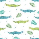 Bezszwowy akwarela krokodyla wzór royalty ilustracja