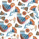 Bezszwowy akwarela wzór bajecznie kwiaty i ptaki ilustracja wektor