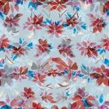 Bezszwowy akwarela wzór czerwieni błękit i kwiaty opuszcza na białym tle Obraz Royalty Free