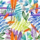 Bezszwowy akwarela wzór raj ogrodowa roślina royalty ilustracja