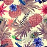Bezszwowy akwarela wzór z ananasami, liście, kwiaty royalty ilustracja