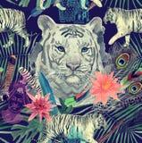 Bezszwowy akwarela wzór z białymi tygrysów liśćmi, kwiaty ilustracji