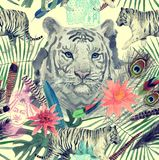 Bezszwowy akwarela wzór z białymi tygrysami, słoń, maharajah liście, kwiaty Obrazy Stock