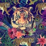 Bezszwowy akwarela wzór z białymi tygrysami, słoń, maharajah liście, kwiaty Obraz Royalty Free