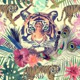Bezszwowy akwarela wzór z białymi tygrysami, słoń, maharajah liście, kwiaty Zdjęcie Royalty Free