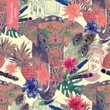 Bezszwowy akwarela wzór z indyjskiego słonia głową wektor Obrazy Royalty Free