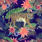 Bezszwowy akwarela wzór z liśćmi, kwiaty, tygrys krowy Zdjęcia Stock