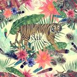 Bezszwowy akwarela wzór z liśćmi, kwiaty, tygrys krowy Obrazy Stock