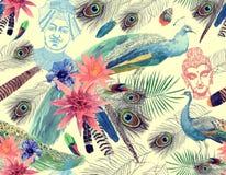 Bezszwowy akwarela wzór z pawiami, liście, kwiaty, Buddha głowa, maharajah ilustracja wektor