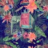 Bezszwowy akwarela wzór z słoniem, krowa, liście, kwiaty ilustracji