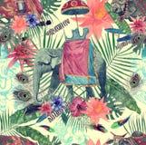 Bezszwowy akwarela wzór z słoniem, krowa, liście, kwiaty royalty ilustracja