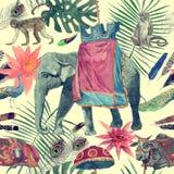 Bezszwowy akwarela wzór z słoniem, krowa, małpy, pawie, liście, kwiaty ilustracja wektor