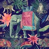 Bezszwowy akwarela wzór z słoniem, krowa, małpy, pawie, liście, kwiaty ilustracji