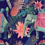 Bezszwowy akwarela wzór z słoniem, liście, kwiaty royalty ilustracja