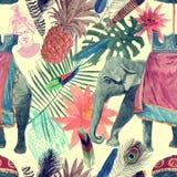 Bezszwowy akwarela wzór z słoniem, maharajah głowa, liście, kwiaty ilustracji