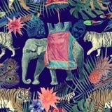 Bezszwowy akwarela wzór z słoniem, tygrysy, liście, kwiaty ilustracji