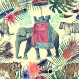 Bezszwowy akwarela wzór z słoniem, tygrysy, liście, kwiaty Fotografia Royalty Free