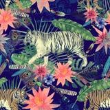 Bezszwowy akwarela wzór z tygrysami, liście, kwiaty Zdjęcia Royalty Free