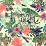 Bezszwowy akwarela wzór z tygrysami, liście, kwiaty Zdjęcie Royalty Free