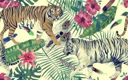 Bezszwowy akwarela wzór z tygrysami, liście, kwiaty Obrazy Stock
