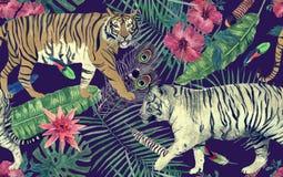 Bezszwowy akwarela wzór z tygrysami, liście, kwiaty ilustracji
