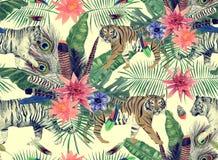 Bezszwowy akwarela wzór z tygrysami, liście, kwiaty Zdjęcie Stock