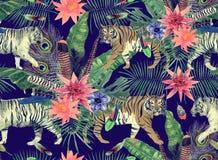 Bezszwowy akwarela wzór z tygrysami, liście, kwiaty Zdjęcia Stock