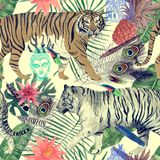 Bezszwowy akwarela wzór z tygrysami, liście, piórka, Zdjęcie Stock