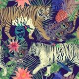 Bezszwowy akwarela wzór z tygrysami, liście, piórka, royalty ilustracja
