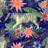 Bezszwowy akwarela wzór z tygrysami, małpy, liście, kwiaty ilustracja wektor