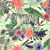 Bezszwowy akwarela wzór z tygrysami, małpy, liście, kwiaty Obrazy Royalty Free