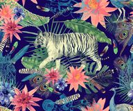 Bezszwowy akwarela wzór z tygrysami, pawie, liście, kwiaty royalty ilustracja