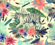 Bezszwowy akwarela wzór z tygrysami, pawie, liście, kwiaty ilustracji