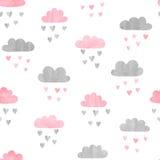 Bezszwowy akwareli chmur wzór ilustracja wektor
