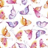 Bezszwowy akwareli tła składać się z motyle różni kolory, kolor żółty i menchie, Zdjęcia Royalty Free