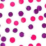 Bezszwowy akwareli tło z różowymi kleksami Obraz Stock