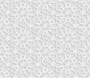 Bezszwowy arabski geometryczny wzór, 3D biały tło, indyjski ornament, perski motyw, wektorowa tekstura Niekończący się tekstura j Ilustracji